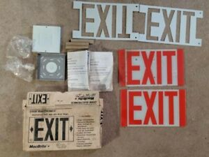 Vintage Reversed Painted Glass Exit Sign With Box Parts macbrite
