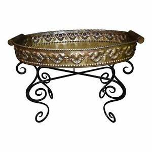 Vintage Ornate Brass Tray Top Table W Wrought Iron Base