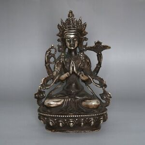 Exquisite Chinese Silver Bronze Statue Buddha Figurine Seated Sculpture 8 26 H