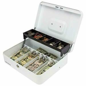 White Steel Cash Box With Safe Key Lock Tiered Money Coin Tray And Bill Slots