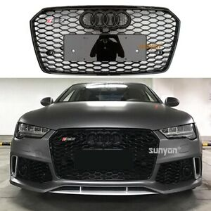 Rs7 Style For Audi A7 S7 Grille 2016 2018 Front Mesh Honeycomb Grill Black Ring