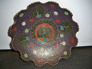 Solid Brass Peacock Enameled Bowl Crafted In India 10 Across