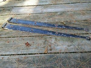 2 Vtg Antique Forged Iron Barn Door Straps Hinges New England Architecture 26