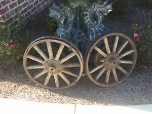 Two Antique Ford Model T Wood Spoke Rims Wheels