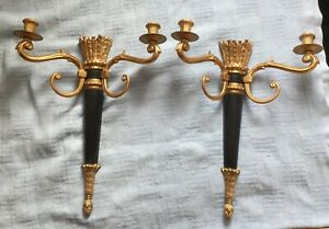 Large Vintage Gold And Black French Touch Wall Sconce Candle 15 5 X12 Vg