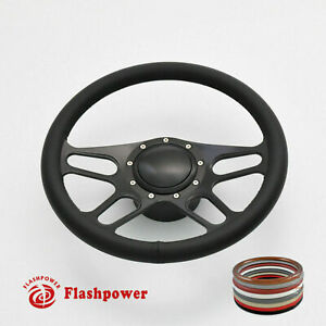 15 5 Black Billet Steering Wheel Kits Black Full Wrap Buick Chevy Gmc Gto