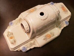 Vintage 1930s Wall Sconce Light Fixture Ceramic Porcelain Cream W Flowers
