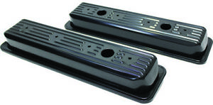 Sb Chevy Black Steel Short Center Bolt Valve Covers 305 350 5 0 5 7 3 Hole