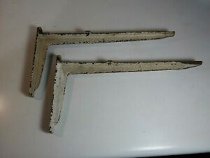 2 Shelf Supports Brackets 16 X8 Shabby Worn Paint Cast Iron Old Rustic Vintage