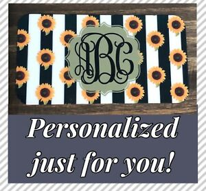 Monogram Stripe License Plate Personalized Sunflower Custom Initials Car Tag New