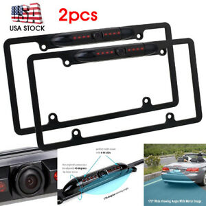2xcar License Plate Holder Frame Cover Backup Camera Night Vision Cmo Waterproof