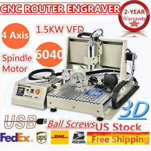 Cnc 6040t 4 Axis Router Engraving Drilling Milliing Machine Ball Screw Pvc Wood