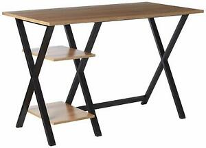 Offex Home Office X leg Wood metal Table Top Writing Desk With 2 Shelves