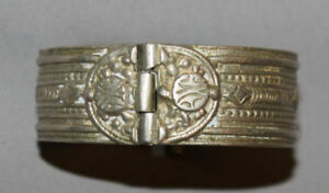 Antique Greek Medieval Silver Hinged Folk Hand Made Bracelet