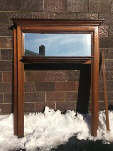 Vtg Wood 80 3 4 Tall Fireplace Mantle With Mirror Has Side Trim Very Good
