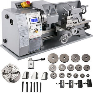 8 x16 Mini Metal Lathe W lamp 9 Cutters 2 Chucks 750w Digital Display Benchtop