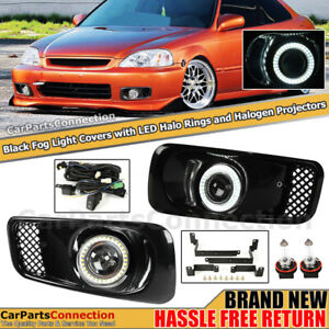 Left Right Fog Lights For Honda Civic 99 00 Foglamps Black Bezels Led Halo Ring