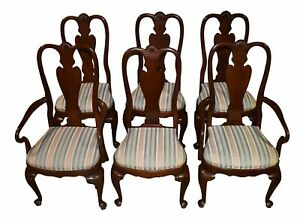 Vintage Ethan Allen Set Of Six Queen Anne Style Mahogany Dining Chairs