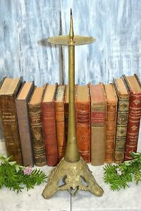 Antique French Bronze Altar Candle Holder Candlestick With Pricket