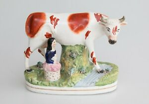 Large Antique 19th Century English Staffordshire Cow Girl Milk Maid Figurine
