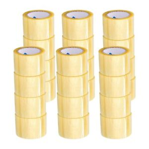 Yellow Transparent Hybrid Packaging Packing Tape 2 Mil 72mm X 100m 96 Rolls