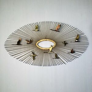 Mid Century Modern Oval Sunburst And Bird Wall Sculpture Attributed To C Jere