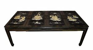 Hand Painted Asian Style Dining Table W Shell Carvings Two Leaves