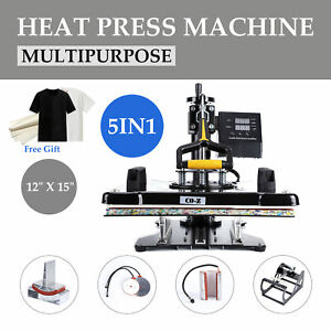 5 In 1 Heat Press Machine Swing Away Digital 12 15 T shirt Mug Plate Hat