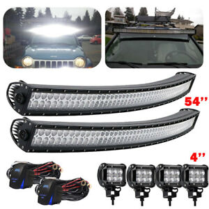 54 Curved Work Led Light Bar S F For Jeep Offroad Rhino Sandrail Boat Suv
