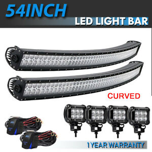 54 Curved Light Bar Fog Lights Fit For Jeep Offroad Rhino Sandrail Boat Suv