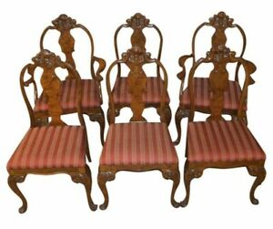 Vintage Antique Set Of Six Carved Walnut Burl French Style Dining Chairs