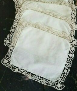 Antique Cocktail Napkins Table Linens Point De Venise Lace Trim Lot Small Doily