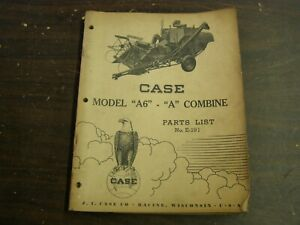1945 Case Model A6 A Combine Master Parts List Book Tractor Farm Implement