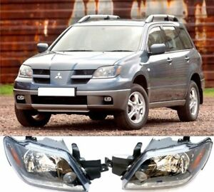 Front Head Lamp Headlights Assembly Set 2x For Mitsubishi Outlander 2003 2005