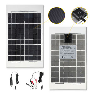 10w 12v Poly A class Solar Panel Battery Charger Crocodile Clips For W Car Char