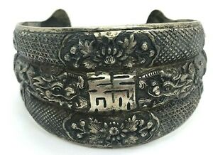 Antique Chinese Export Silver Dragon Decorative 1 5 Wide Cuff Bracelet 44 4g