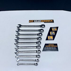 New Gearwrench 10 Pc Full Polished Ratchet Wrench Set Sae Inch