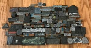 Lot Of 117 Assorted Wood And Metal Letterpress Printing Blocks