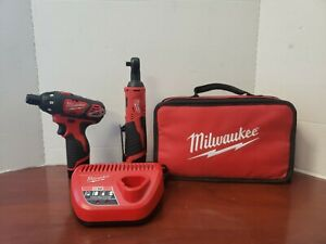 Milwaukee M12 3 8 Drive Ratchet And Screwdriver With Batteries And Charger
