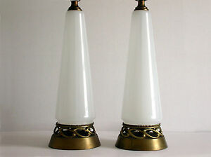 Pair Vintage Hollywood Regency Conical Form Translucent White Glass
