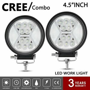 Pair  5inch LED Work Light 60W Round Spot Flood Driving Fog Lamp SUV ATV Offroad