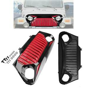 Front Gladiator Vader Grille Grill W mesh Fit For 1997 2006 Jeep Wrangler Tj Red