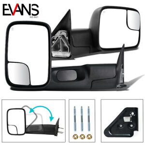 Pair For 98 01 Dodge Ram 1500 2500 3500 Power Heated Tow Towing Mirrors Flip Up