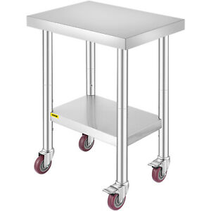 Rolling Stainless Steel Top Kitchen Work Table Cart Casters Shelving 18 x24