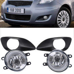 Pair Front Clear Lens Fog Lights Black Cover For Toyota Yaris Sedan 4d 2007 2012