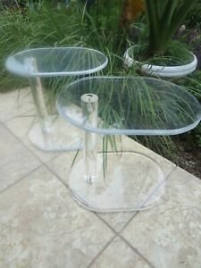 Pair Of Vintage Mid Century Modern Lucite Acrylic Oval Side Table
