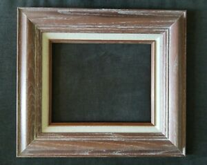 Vintage American Mid Century Modern White Washed Oak Frame 8x10 In Fit