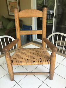 Primitive Child S Ladder Back Caned Bottom Chair
