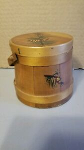 Antique Hand Painted Wooden Bucket Pail Shaker Swing Handle Lid Farmhouse
