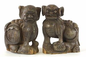 Pair Of Antique Chinese Wooden Statue Animal Foo Dog Lion 19th C